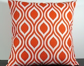 Orange Tangerine Geometic decorative throw pillow cover 18 x18 inches Accent cushion sham slipcover couch pillow.
