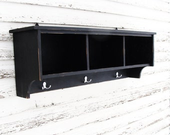 Entryway Shelf, Cubby Shelf, Storage Shelf, Painted Furniture, Black Custom