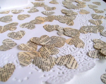 Wedding / party table heart confetti French vintage dictionary 100 pieces