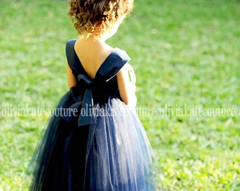 Navy Flower Girl Dress sz 10. 12. 14