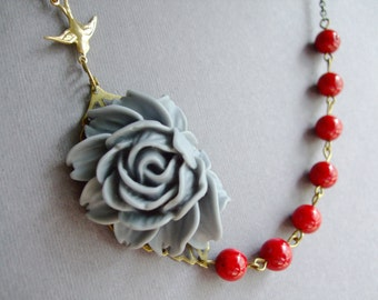 Holiday Gift,Statement Necklace,Grey Flower Necklace,Red Jewelry,Bridesmaid Jewelry Set,Bib Necklace,Grey Jewelry,Red Necklace,Gift For Her