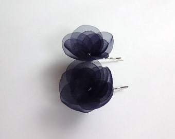 2 Navy Blue Organza Hair Pins