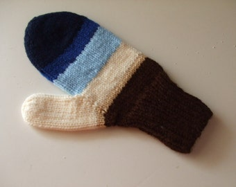 Hand Knit Mittens - Heaven and Earth - for Ladies/Teens