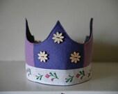SALE - Wool Felt Crown - purple flowers