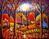 Halloween Fun Fall Night Witches Ghosts Kids Trick or Treat Whimsical Colorful Folk Art Painting