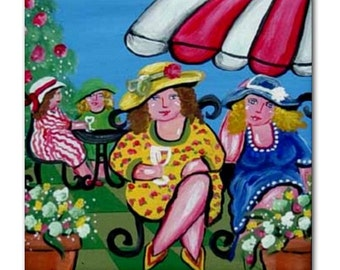 Garden Party Divas Fun Whimsical Folk Art Ceramic Tile