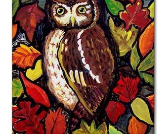 Owls Fall Leaves Whimsical Folk Art Ceramic Tile