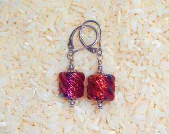 BEAUTIFUL dichroic bead sterling silver earrings