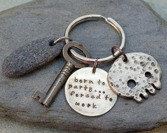 Skull Keychain White Bronze, Beach Stone, Skeleton Key, For Him, Unisex, Accessory - Born To Party