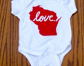 Wisconsin Love Onesie/Toddler Tee Shirt