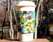 Fabric coffee cozy / cup sleeve / coffee sleeve  - 60s polka dots