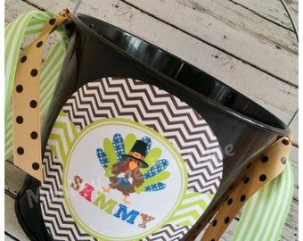 Personalized Thanksgiving Turkey Pail
