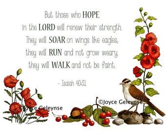 Flowers, Bird, Bible Verse From Isaiah, Wings Like Eagles, Instant Digital Download U Print