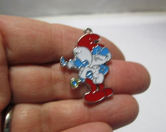 Adorable Poppa Smurf and Baby Smurf charms