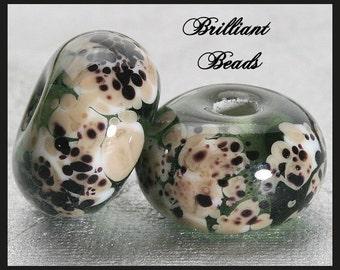Dalmatian...Grey, Black, & White Mix Glass Spacer Bead Pair...Handmade Lampwork Beads SRA, Made To Order