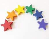 Wooden Rainbow Stars - Matching / Sorting / Counting / Stacking Game - Ecofriendly Soy Paint & Beeswax