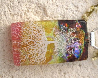 Pink Golden Yellow,  Rainbow Tree, Tree of Life, Tree Jewelry, Dichroic Glass Pendant, Fused Glass Jewelry, Rooted Tree Necklace, 060616p100