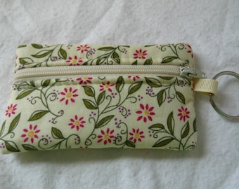 Coin Purse - Floral Change Purse - Small Zippered Pouch - Cream Floral Keychain Change Purse - Floral Ear Bud Holder