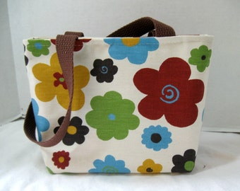 Small Floral Purse - Bold Flowers Tote Bag - Small Fall Purse - Bold Colors