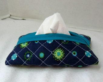 Quilted Tissue Holder - Pocket Size Tissue Cozy -  Peacock Navy Tissue Case - Purse Quilted Tissue Cover
