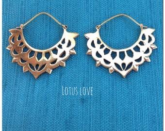 Lotus Love Brass Earring