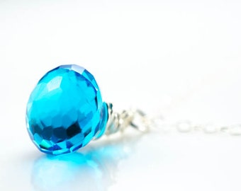 Monarch Aqua Blue Faceted Quartz Gemstone Briolette Sterling Silver Necklace