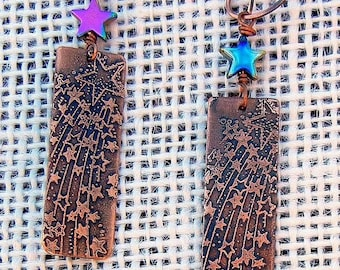 Celestial Shooting Stars  Etched Copper Earrings Copper Jewelry Gypsy Boho Hippie - made to order Artisan jewelry