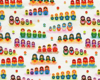 Timeless Treasures Mini Russian Dolls White Fabric - Half Yard (Last One)