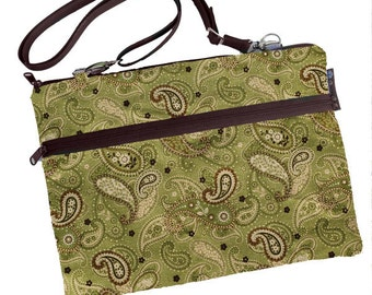 11 inch MacBook Air Sleeve Case / Bag / Shoulder Bag Zipper Padded /FAST SHIPPING/Washable/Green Paisley fabric