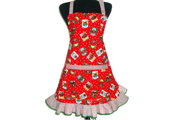 Christmas Cupcake Apron , Red and White Polka Dot and Candy Cane Striped Ruffle