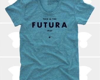 Futura Women's TShirt, Typography TShirt, Tee Womens Top, S,M,L,Xl, Graphic Design, Type, Typography, Mint Shirt (4 Colors) TShirt for Women