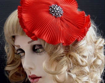 Large Red Pleated Flower Fascinator On Sale