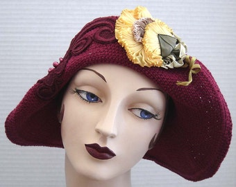 Cranberry Red Crochet Cotton Hat With Yellow Ribbon Flower On Sale