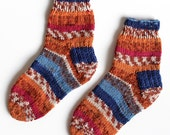 Hand Knit Wool Socks. Childs Knit Wool Socks. Fair Isle Inspired Blue and Orange Children's Sox. Kids Knit Crew Sox. Kids 2 to 3 Years