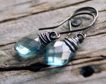 Teal green mystic quartz earrings.  Wire wrapped briolette. Oxidized sterling silver. Minimalist. Modern. Wedding.