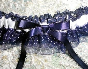 Navy Blue -White Polka Dot Organdy-Lace Garter-Double Ruffle