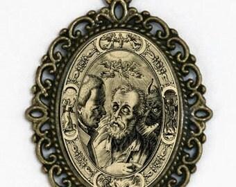 Memento Mori dying man necklace psychobilly gothic punk odd death