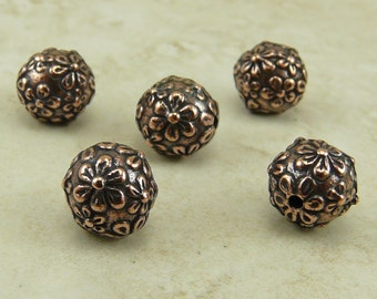 5 TierraCast 8mm Floral Round Flower Beads > Spring Bride Wedding Summer - Copper Plated Lead Free Pewter - I ship Internationally 5601