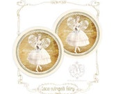 "Fairy, Ballerina, Stickers, cream and gold, lace wings, Christmas, ballet dancer, Seals Glossy 2.25"" diameter - mulberrymuse"