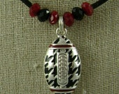 University of Alabama Crimson Tide Houndstooth Enamel Football Necklace