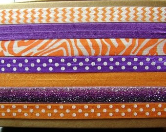 Orange and Purple Chevron Tiger Print Polka Dot Glitter Headbands ... 7ct.