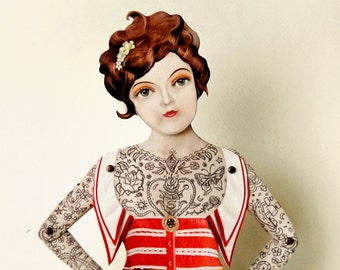 Tattoo Paper Doll Puppet - Miss Suzy, Victorian Lady Nautical Sailor Gal for girlfriend, anniversary, mom, grandmother, aunt. A unique gift.