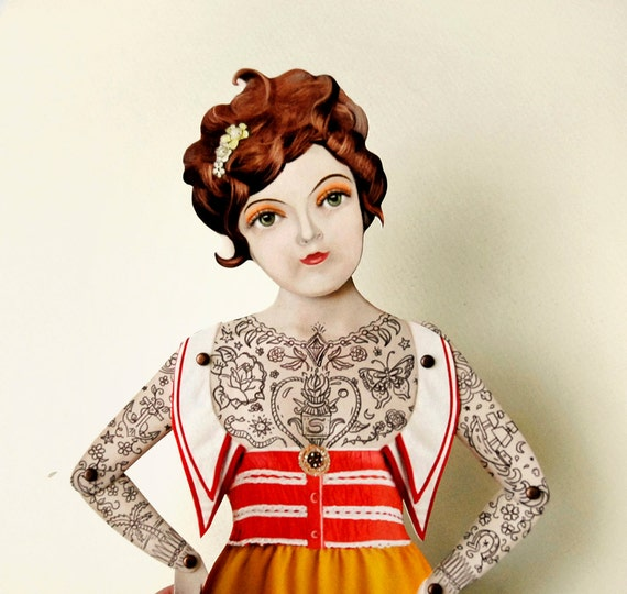 "Tattoo Lady Paper Doll Puppet - Miss Suzy, A Victorian Nautical Sailor Gal. More Info? Scroll & Read ""Item Details"""