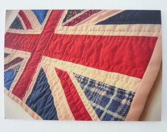 Printed Art Card - Patchwork Union Jack Detail - Red, White and Blue Flag Image