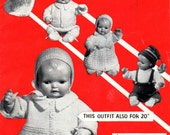 Dolls Clothes in D.K 6 Outfits 3 Sizes Vintage Knitting Booklet Email Pdf Pattern