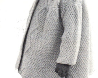 Toddlers Coat in Aran Pdf Vintage Knitting Pattern  for 18 Months Old Digital Pattern