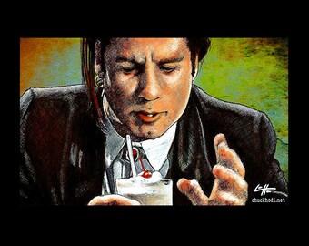 "Print 11x17"" - Goddamn thats a pretty fuckin good milkshake - Pulp Fiction Vincent Vega John Travolta Quentin Tarantino Pop Art 90s Guns"
