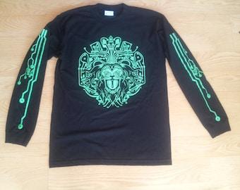SALE! Cyber lion printed Long Sleeve T Shirt Mens