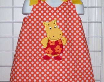 Orange Polka Dot Hippo Applique Dress - kindergarten dress - pre-k dress - birthday party dress