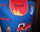 Personalized Stephen Joseph Quilted Back Pack Firetruck by Never Felt Better